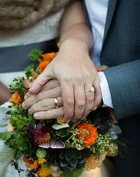Courtwood Weddings - couple holding bouquet wearing wedding rings