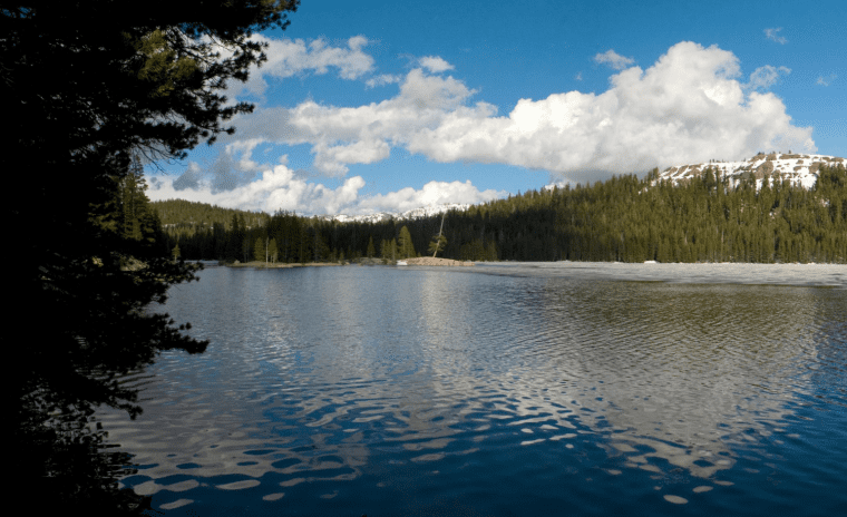 lake alpine on scenic byway